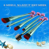 Wholesale Eyeshadows Set - 6pcs set Glitter Makeup Brush Sets Shell Handle Foundation Eyeshadows Blending Powder Contour Blush Cosmetics Brush CCA7668 30set