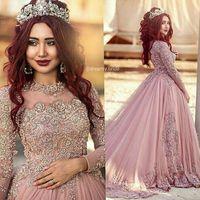 robes de mariée musulmanes achat en gros de-2016 robe de bal manches longues robes de mariée princesse musulman occidental robes de mariée robes de mariée avec des perles