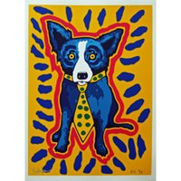 splash rectangles - Quality genuine Pure Handpainted Abstract Art oil Painting On Thick Canvas Multi size George Rodrigue Blue Dog quot I Gotta Make A Splash Yellow