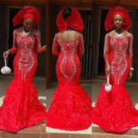 Wholesale Ladies Size 16 Skirts - 2018 African Lady Red Beaded Evening Dresses Off the Shoulder Tiered Skirt Formal Party Gown Handwork Vestidos Evening Gowns