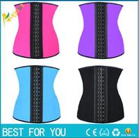 Wholesale Latex Waist Cincher Wholesale - 9 steel bone Latex Rubber corset body shaper Waist Trainer training corsets Corset 100% Latex Corset Latex Waist Cincher Slimming Shapewear