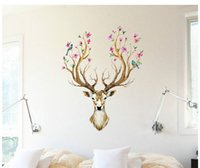 Wholesale Deer Vinyl Wall - For Wall Cartoon Promotion Deer Wall Stickers Animal Wallpaper Living Room Home Decoration Children Sticker 60x90cm HF06