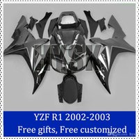Wholesale Custom Painted R1 Motorcycle Kits - Black fairing kit for Yamaha YZF R1 2002 20003 Complete fairings 2002-2003 YZF-R1 Custom Painting Motorcycle Fairing with original decal