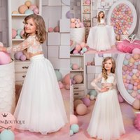 Wholesale Cheap Boutique Kids - 2016 Kingdom Boutique Two Pieces Flower Girls Dresses Cheap Cute Sheer Crew Neck Long Sleeves Lace Bodice Lovely Kids Formal Wear Long
