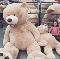 Wholesale Huge Stuffed Teddy Bears - 2016 Wholesale 160cm GIANT HUGE BIG BROWN TEDDY BEAR COVER SHELL STUFFED ANIMAL PLUSH SOFT TOY