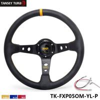 volante de carreras de aluminio al por mayor-Tansky - Alta calidad 350MM PVC Racing Marco de aluminio Peso ligero Volante de 6 orificios Jdm Sport modificado (amarillo rojo azul) TK-FXP05OM-P
