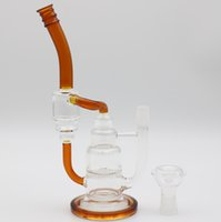Wholesale Unique Amber - Unique Amber Pipes For Smoking Honeycomb Percolator Recycler Glass Water Pipes Dab Rigs Smoking Water Bongs In Stock Glass Bong Hookahs Pipe