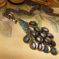 подвесной бриллиант оптовых-Blue Peacock Feather Necklace Set Gems Павлин Ретро Ожерелье Цепь Свитера Кристалл Ювелирные Изделия С Бриллиантами Кулон Заявление Ожерелье