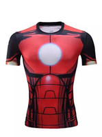 Wholesale Girly Shirts - 2016 The Avengers t shirt men superhero Batman Jersey shirt sports quick dry fitness compression drying T shirt 3D girly men