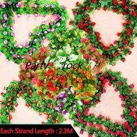 Wholesale Outdoor Wall Decor Wholesale - 2.3m 7.5ft Artificial Rose Flower Ivy Vine Leaf Garland Romantic Wedding Party Home Decor Christmas indoor outdoor decorations