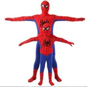Wholesale Spiderman Fancy Dress Costume - Spider Man Spiderman Mascot Costume Fancy Dress Adult And Children Halloween Party Costume Jumpsuits Rompers Red