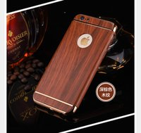 Wholesale Wooden Case Parts - 100pcs Deluxe 3 Parts Wood Wooden PC Hard Case For Iphone 6 6plus 7 7Plus 3 in 1 Electroplate Metallic Chrome Hybrid Cover Shell Phone