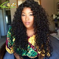 Wholesale cute human hair resale online - cute hair style afro curly full lace wig mongolian kinky curly density medium length black human hair front lace wigs sale