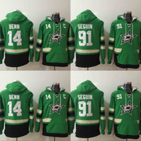 Wholesale mens star jacket - Mens Dallas Stars Hoodies Hockey Jersey 14 Jamie Benn 91 Tyler Seguin Sweatshirts Winter Jacket Green Free Shipping