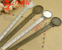 Wholesale Oval Bookmark - A4180 A4181 Fit 20MM 18X25MM round oval creative stationery silver ruler charms lovely zinc alloy metal blank pendant bookmark setting bezel