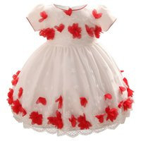 Wholesale infant flower dresses online - Girl Dress Infants D Flower Dress Baby Girl Birthday Full Dress Clothing For Months Baby Colors