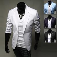 Wholesale Cool Slim Men Blazer - Plus Size British Fashion Men Suits Brief Styish Slim Fit Blazer For Men Mid Sleeve Autumn Cool Businessman Blazer J160719