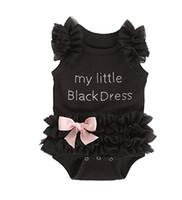 küçük kız siyah prenses elbiseleri toptan satış-INS Sevimli infantil kız puf kol rhinestone küçük siyah tutu elbise toddler kız 0-36 M bebek kız prenses romper giyim
