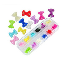 смола украшена оптовых-Wholesale-60 Pcs Beauty 3D nail charms Resin Bowknot Glitter Stickers Beads DIY Nail Art Decorations styling tools decorated nail tips U21