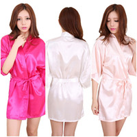 Wholesale Satin Night Gowns For Women - 10 Colors Large Size Sexy Satin Night Robe Lace Bathrobe Perfect Wedding Bride Bridesmaid Robes Dressing Gown For Women LC412-1