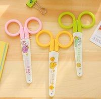 Wholesale Novelty Scissors - Wholesale-1Pcs New Cute Little Bean Cartoon Art Scissors Stationery Scissors Novelty Household Scissors H1584