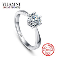 YHAMNI Real Solid Silver Rings Set 8MM 2 ct SONA CZ Diamant Bague de fiançailles 925 Jewelry Wedding Rings for Women D9256Z