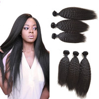 Wholesale Human Hair Yaki Wefts - Mongolian Kinky Straight Human Hair Bundles 3pcs Lot Unprocessed Human Hair Extensions Coarse Yaki Hair Wefts 8-30inch G-EASY