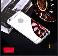 Wholesale Iphone Covers Aluminium Silver - Luxury Protector Cover Aluminium Ultra-thin Mirror Mobile Cell Phone Cases Soft Handy Case For Iphone 5 5s 6 6s 7 8 8plus 7Plus