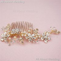 Wholesale Handmade Gold Hair Accessories - Rose Gold Bridal Comb Handmade Hot Sell Free Shipping Crystal Pearl Wedding Hair Accessories Headpieces Jewelry Real photo