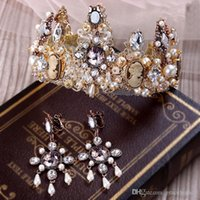 Wholesale Vintage Crown Hair Pieces - 2016 New 1 Pieces Bridal Gold Crown Earring hair Accessories Baroque Old Wedding Hair headband Vintage Crystal Tiaras Women Party Jewelry