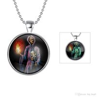 Wholesale Tin Lanterns Wholesale - Halloween! Silver Plated Fluorescent Green Exquisite Locket Necklace Witch Lantern Pendant Jewelry Glowing in the Dark Luminous Necklace