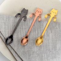 Wholesale Fine Coffee - Cartoon Cat Dessert Spoon Stainless Steel Three Colors Coffee Scoop Fine Polishing Hanging Handle Spoons Top Quality 3 5sh B