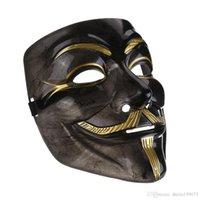 Wholesale Vendetta Resin - 2017new V mask black Mask Vendetta With Eyeliner Nostril Anonymous Guy Fawkes Fancy Adult Costume Halloween Masks