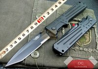 Wholesale Desert Combat - Original Israeli saber UZI Uzi Desert Eagle tactical folding knife 440C Black Blade Aluminum handle with Nylon sheath