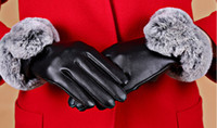 Wholesale Leather Gloves Rex - Ms. touch gloves winter plus thick velvet imitation u-Rex burr students cycling gloves weatherization