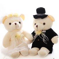 Wholesale Bride Groom Dolls Plush - Wholesale-High-quality wedding bear couples plush toys teddy bear doll 15cm or 20cm Wedding gift Bear Bride & Groom 2pcs pair