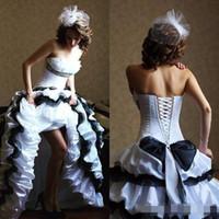 Wholesale taffeta empire wedding dress pink - 2016 Vintage Black White Taffeta Organza Ruffles Wedding Dresses Gothic Strapless Lace Up Tiered Long Victorian Bridal Gown Custom Made