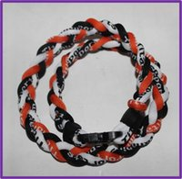Wholesale Custom Titanium Rope Necklaces - custom tornado germanium ion titanium braided necklace for baseball basketball