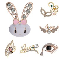 Wholesale fashion butterfly brooch online - Brooches For Women Fashion Rhinestone Brooch Animal Rabbit Spider Ballet Girl Angle Love Butterfly Wedding Pins Broches