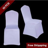 evrensel beyaz spandex düğün tezgahı kapakları toptan satış-50 ADET Beyaz Polyester Spandex Düğün Sandalye Kapak Töreni Olay Katlanır Otel Ziyafet Koltuk Sandalye Kapak için Yeni Evrensel Boyutu Sandalye Kapakları