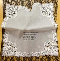 """Wholesale Lace Handkerchiefs Wholesale - Home Textiles Belgium Lace style 12PCS lot White100% soft cotton Ladies Handkerchiefs 12'x12""""Embroidered crochet lace edges design For Bride"""