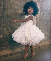 Wholesale Baby Girls White Formal Dress - Gorgeous White Lace Flower Girl Dresses 2016 Ruffles Knee Length Black Girls Prom Party Dresses Kids Formal Wear Custom Made Baby Gowns