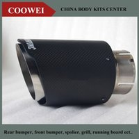 Wholesale Exhaust 76mm - One Pcs 76mm Inlet 114mm Outlet Akrapovic exhaust tip Universal Carbon Fiber Car Exhaust Pipe Tail Muffler Tip