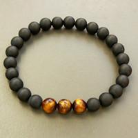 Wholesale tiger eye stretch bracelet - SN0325 Wholesale Mens Bracelet Black Onyx Bracelet Tiger Eye Beaded Bracelet 19cm length Natural Stone stretch bracelets