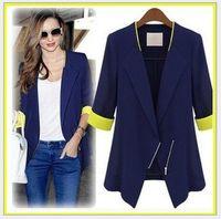 Wholesale Shrugs Size Xl - 2015 New Women summer and autumn Casual Long Sleeve Shrugs Ladies Formal Slim Coat Jacket Suit Outwear blue White slim size cardigan coat