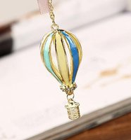 Wholesale Christmas Hot Air Balloon - Lovely Colorful Balloon Sweater Necklace Hot Air Balloon Necklace Colorful Jewelry Sweater Chain Pendant Chian Necklace DHL