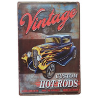 Wholesale Custom Metal Signs - Vintage custom hot Rods Retro rustic tin metal sign Wall Decor Vintage Tin Poster Cafe Shop Bar home decor