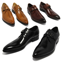 Wholesale Coffee Color Shoe Man - 2016 oxford shoes Deep coffee color  Dark yellow  black mens business dress shoes genuine leather pointed toe mens wedding shoes
