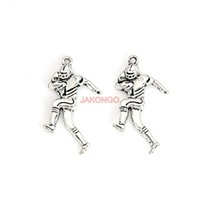 Wholesale make player for sale – custom 20pcs Tibetan Silver Plated Football Player Charms Pendants for Necklace Bracelet Jewelry Making DIY Handmade x20mm