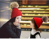 Wholesale Children S Winter Hats Girls - Children Real raccoon fur ball cap pom poms winter hat for women girl 's kids hat knitted beanies cap brand new thick female cap 16 colors